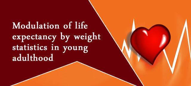 Modulation of life expectancy by weight statistics in young adulthood